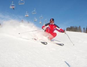 narciarz w Pieninach